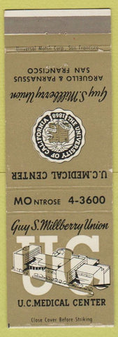 Matchbook Cover  Guy S Millberry Union University of California San Francisco CA