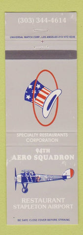 Matchbook Cover  94th Aero Squadron Restaurant Stapleton Airport Denver Colorado