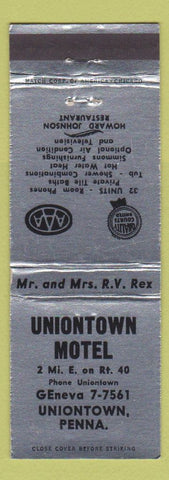Matchbook Cover - Uniontown Motel Uniontown PA