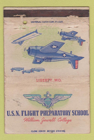 Matchbook Cover  USN Flight School William Jewell Liberty MO WORN 40 Strike