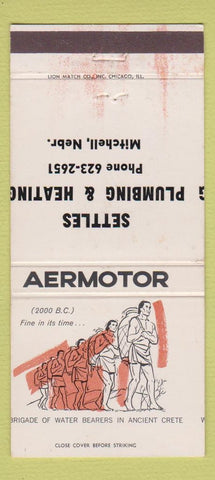 Matchbook Cover  Aeromotor Settles Plumbing Heating Mitchell NE MISCUT 30 Strike
