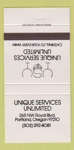 Matchbook Cover - Unique Services Unlimited Portland OR 30 Strike