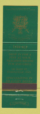 Matchbook Cover - Unionville Arms Unionville ON