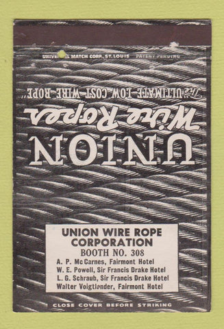 Matchbook Cover - Union Wire Rope San Francisco CA 40 Strike