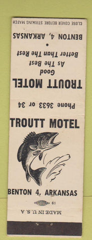 Matchbook Cover - Troutt Motel Benton AR low phone #