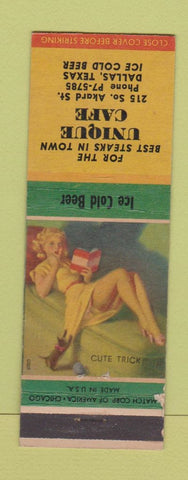 Matchbook Cover - Unique Cafe Dallas TX pinup WEAR