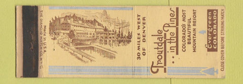 Matchbook Cover - Troutdale in the Pines Evergreen Colorado WORN