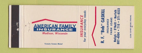 Matchbook Cover  American Family Insurance Bob Gaskill Neligh O'Neill Norfolk NE