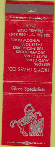 Matchbook Cover - Troy's Glass Co Tulare CA