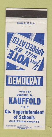 Matchbook Cover  Vance Kauffold Superintendent Schools Election Christian County