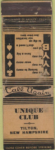 Matchbook Cover - Unique Club Tilton NH WORN