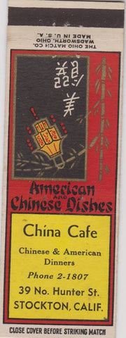 Matchbook Cover - China Cafe Stockton CA Chinese Food