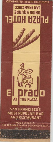 Matchbook Cover - Plaza Hotel Union Square San Francisco CA El Prado WEAR