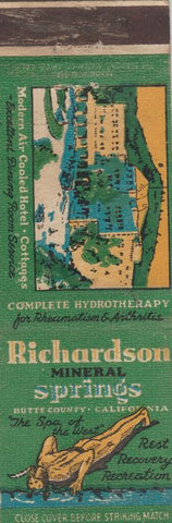 Matchbook Cover - Richardson Mineral Springs Butte County CA WORN