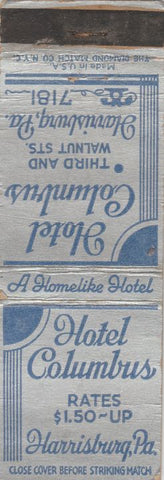 Matchbook Cover - Hotel Columbus Harrisburg PA WORN