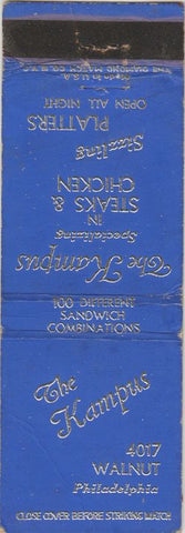 Matchbook Cover - The Kampus Philadelphia PA Restaurant