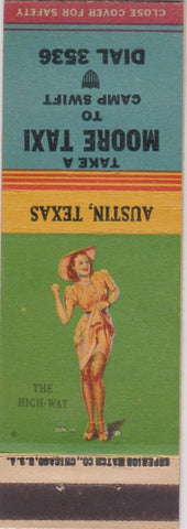 Matchbook Cover - Moore Taxi Austin TX Pinup Tony's Tavern Camp Swift