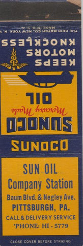 Matchbook Cover - Sunoco oil gas Sun Oil Co Pittsburgh PA WEAR