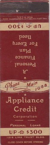 Matchbook Cover - Appliance Credit Corp Lima OH?