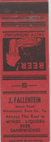 Matchbook Cover - J Fallentein Warminster Buck County PA WEAR