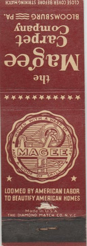 Matchbook Cover - Magic Carpet Co Bloomsburg PA