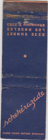 Matchbook Cover - Scheherazade Los Angeles CA WORN