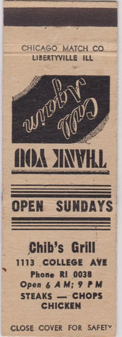 Matchbook Cover - Chib's Grill Indianapolis IN