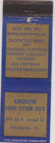 Matchbook Cover - Kensington Labor Lyceum Philadelphia PA