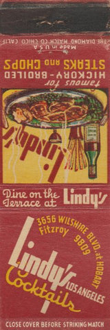 Matchbook Cover - Lindy's Cocktails Los Angeles CA WEAR