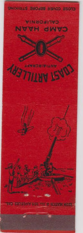 Matchbook Cover - Coast Artillery Camp Haan CA military