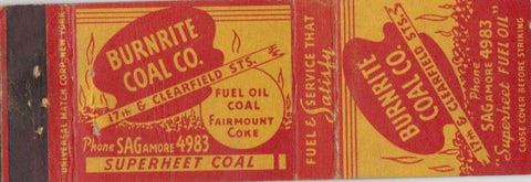 Matchbook Cover - Burnrite Coal Co Philadelphia? WEAR