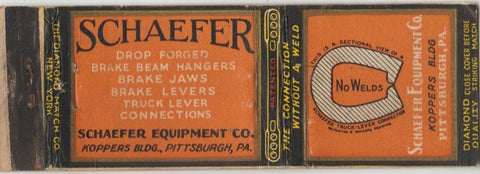 Matchbook Cover - Schaefer Equipment Pittsburgh PA DQ WEAR