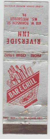Matchbook Cover - Riverside Inn Pittsburgh PA POOR