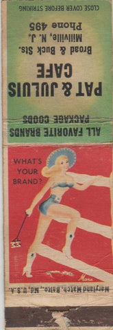 Matchbook Cover - Pat Julius Cafe Millville NJ pinup WORN