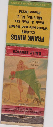 Matchbook Cover - Fank Hinds Clams Millville NJ pinup WORN