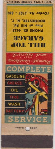 Matchbook Cover - Hill Top Garage Rochester NY WEAR SAMPLE
