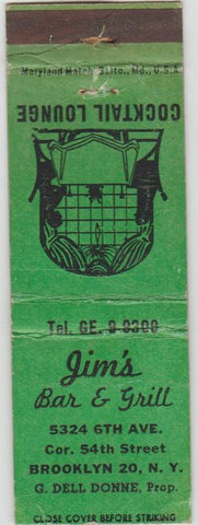 Matchbook Cover - Jim's Bar Grill Brooklyn NY