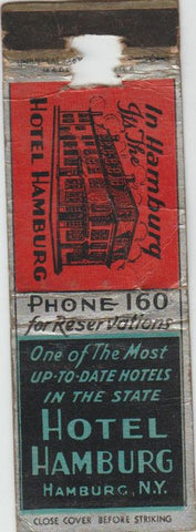 Matchbook Cover - Hotel Hamburg NY WORN