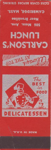 Matchbook Cover - Carlson's Lunch Cambridge MA SAMPLE WEAR