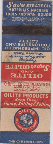 Matchbook Cover - Oilite Bearings Detroit MI Chrysler WEAR