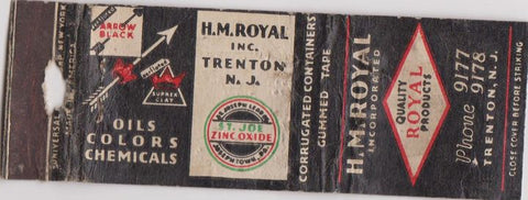 Matchbook Cover - HM Royal Inc oil Trenton NJ POOR