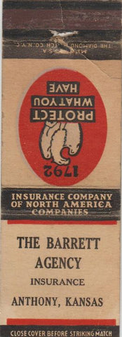 Matchbook Cover - Barrett Insurance Agency Anthony KS WEAR