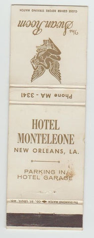 Matchbook Cover - Hotel Monteleone New Orleans NY Swan Room WEAR