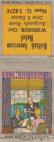 Matchbook Cover - British American Hotel Windsor ON CREASES