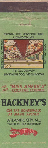 Matchbook Cover - Hackney's Atlantic City NJ CREASE