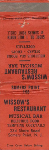 Matchbook Cover - Wissow's Restaurant Somers Point NJ WORN
