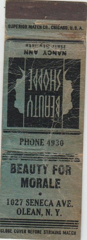 Matchbook Cover - Beauty for Morale Olean NY Salon POOR