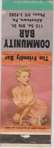 Matchbook Cover - Community Bar Allentown PA pinup POOR
