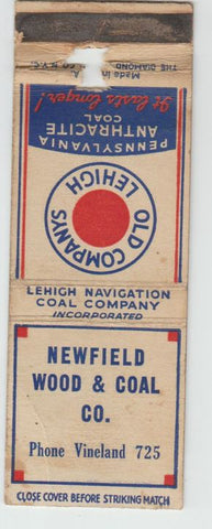 Matchbook Cover - Newfield Wood Coal Lehigh PA CREASE
