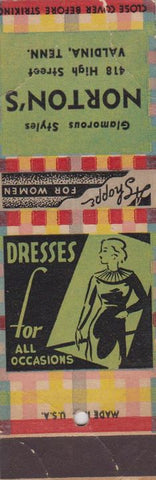 Matchbook Cover - Norton's Valdina TN girlie dresses SAMPLE WEAR